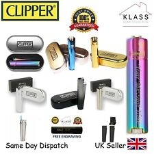 PERSONALISED ENGRAVED METAL CLIPPER LIGHTER - BIRTHDAY GIFT - BLACK BLUE GOLD