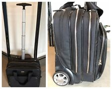 Cole Haan Black Leather Rolling Briefcase Wheels Retractable Handle Travel Bag