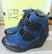 FLY London Wedge Leather Boots Oil Suede Black/Ocean YUGO684FLY Size 36, US 5.5