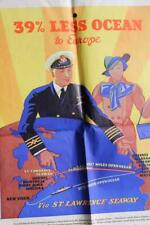CANADIAN PACIFIC LINE RMS EMPRESS OF BRITAIN ERA RARE ART DECO POSTER BAG 1930'S