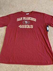Red Majestic San Francisco 49ers Short Sleeve Shirt NWT 4XT NFL Apparel Tall
