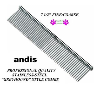 "ANDIS Pro STAINLESS STEEL 7 1/2"" FINE COARSE Greyhound Style COMB*Pet Grooming"