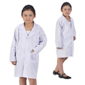 Boys Girls White Lab Super Soft for Kids Unisex School Fancy Dress Coat Costume