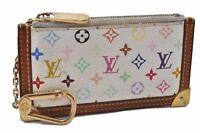 Auth Louis Vuitton Monogram Multicolor Pochette Cles White Coin Case LV B4543