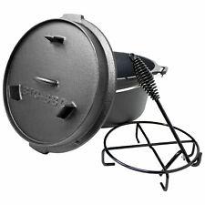 Big BBQ Premium Dutch Oven Gusseisen mit Deckelheber - 9 QT Gusstopf ohne Füße