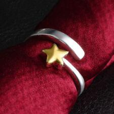 Rodio & Chapado En Oro Sólido De Plata 925 Estrella abierta de dos colores Anillo De Regalo