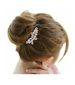 NEW EVER FAITH - Cubic Zirconia Crystal Leaf Wing Hair Comb Wedding Bridal Prom