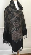 LORO PIANA Black Floral Fringe 100% Cashmere Wrap Shawl Cape mint condition