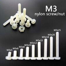 25/50/100pcs White Plastic Nylon M3 Round Pan Phillips Head Screw Bolt Hex Nut
