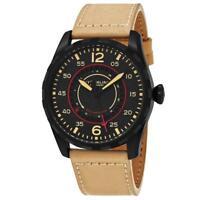 Stuhrling Original 455 01 Aviator Quartz Date Beige Leather Strap Mens Watch