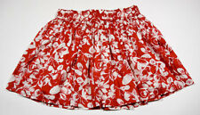FOREVER 21 WOMENS LARGE SHORT SKIRT RED WHITE FLORAL PRINT FLOWERS 100% COTTON