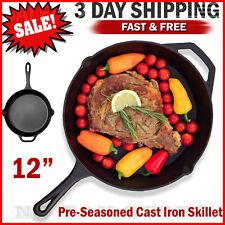 "Cast iron skillet 12"" Pre Seasoned Frying Cookware Pot Oven Cooking Fry Pan"