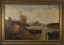 BEAUTIFUL Antique Oil Painting Mt. Landscape w/ Castle, Large, From London, FINE