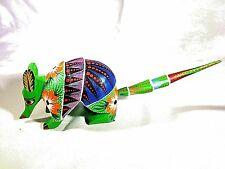 Colorful Hand-Painted Green Armadillo Wood Carving (Alebrije) - Oaxaca