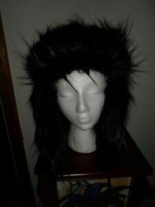 June Ambrose Black Faux Fur Hat/Cap One Size Fits Most - NWOT