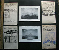 1945 USS LEJEUNE Shipboard Newspapers w Ship Drawings GERMANY HIMMLER SURRENDER