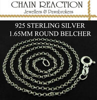 """925 STERLING SILVER 16"""" 18"""" ROUND BELCHER LINK CHAIN PENDANT CHAIN"""