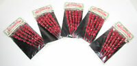 25 Vintage Hard Plastic Red Icicle Christmas Ornaments Twist NOS Sealed McCrory