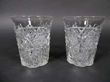 Antique EAPG Whiskey Tumbler Drinking Hi-Ball Glasses Pair Pattern Pressed