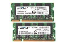 Crucial 4GB 2X 2GB PC2-6400 2RX8 DDR2-800MHz 200PIN SO-DIMM RAM Laptop Memory