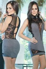 Mini abito ricamato pizzo nudo Scollo Ballo Party Hollow-out Lace Club Dress M