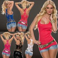 Sexy Clubbing Women Lace Back Ladies Vest Tank Top Sleeveless Shirt 6 8 10 12 S