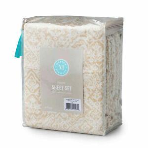 Martha Stewart QUEEN Flat Sheet from Set 100% Cotton Sateen 300 TC Taupe Tile