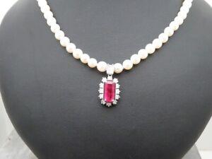 Traumhaftes-Perlencollier mit Rubinanhänger + Diamanten HOCHWERTIG