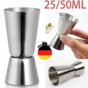 2-Fach Edelstahl Cocktail Messbecher 2cl 2,5cl 3cl 4cl 5cl Schnaps dosierer DE