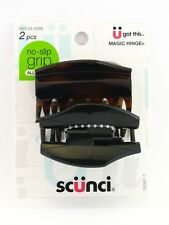 SCUNCI NO SLIP GRIP COVERED HINGE CLAW HAIR CLIPS - 2 PCS.(20097)