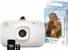 HP Sprocket 2-in-1 Portable Photo Printer & Instant Camera Bundle - White