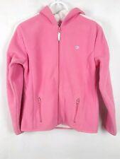 Aeropostale Wpmen's sz M Pink White Long Sleeve Zip Up Hooded Fleece Jacket