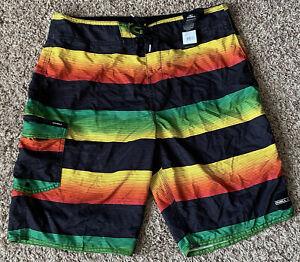 NEW O'Neil Board Shorts Mens 34 Full Length Black Reggea Stripes Swim Trunks NWT