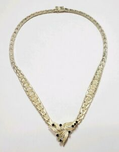 Sterling Silver .40 Carat Sapphire Pendant Necklace 16 Inches