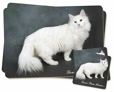 White Cat 'Love You Mum' Twin 2x Placemats+2x Coasters Set in Gift , AC-105lymPC