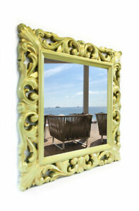 Wood Carved Hand-Made Painted Modern Baroque Mirror 90x90 cm