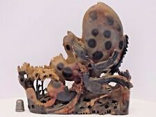 Beautifully Hand Carved Unusually Coloured Chinese Soapstone Brush Pot Sculpture
