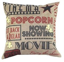 "Movie Cinema Popcorn Beige 17"" Square Cushion Cover Pillow Case Home Decor Gift"