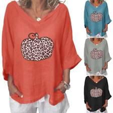 Plus Size Women Pumpkin Baggy T-Shirt V-Neck Tee Tunic Blouse Ladies Casual Tops