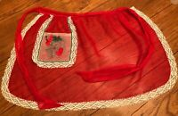 Vintage Christmas Apron Sheer Red Organdy with Embroidered Santa