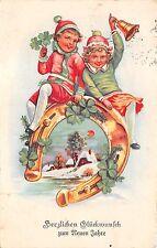 AK Litho. Kinder mit Glocke Glückseisen Glücksblätter Postkarte 1938 Zeulenroda