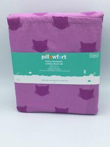 Pillowfort Feline Fantastic 100% Cotton Toddler Sheet Set 220 Thread Count NEW