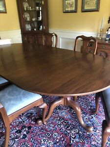 """HENKEL HARRIS BLACK CHERRY DOUBLE PEDESTAL DINING TABLE-FOUR 12"""" LEAFS- 8 CHAIRS"""