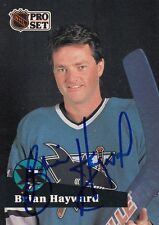 1991 Pro Set BRIAN HAYWARD San Jose SHARKS Autographed Signed Hockey Card 327 (B