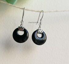 Genuine natural black agate circle in 925 sterling silver dangle earrings