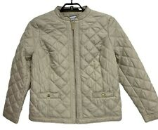 Charter Club women's quilted jacket full zip front pockets sand color size L