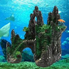 Aquarium Mountain View House Hiding Cave Tree Ornament Fish Tank Decoration