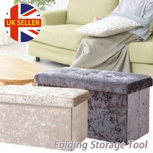 Large Velvet Ottoman 2 Seat Folding Double Bed Storage Box Foot Stool Furniture