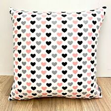 882. Pink & Grey Hearts 100% Cotton Cushion Cover Various sizes