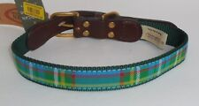 "Auburn Leathercrafters American Traditions Green Plaid Dog Pet Collar 22"" New"